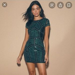 Lulus spread your shine green sequin beaded dress